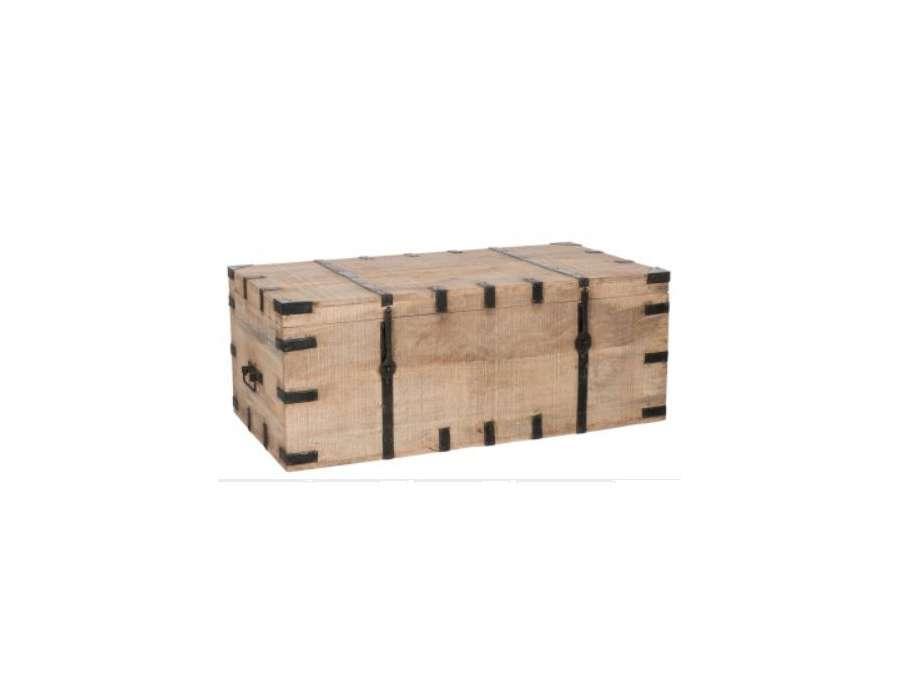 Grand coffre bois avec ferrures noires