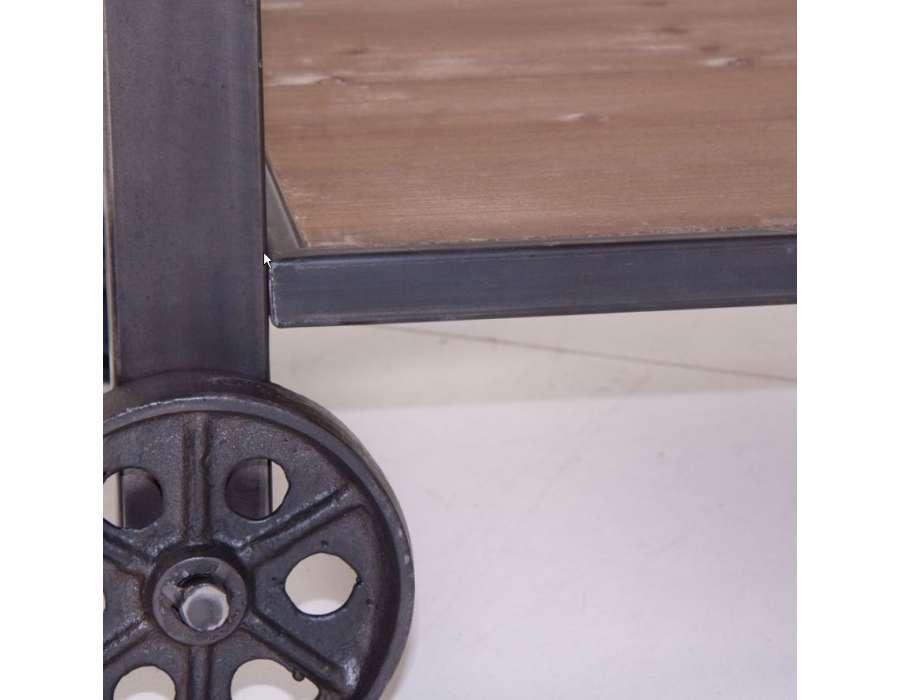 Etagère large industrielle sur roues bois et métal