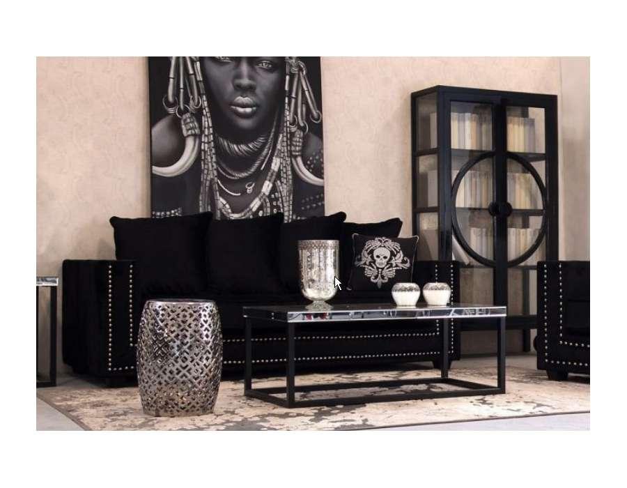 Canapé velours noir moderne