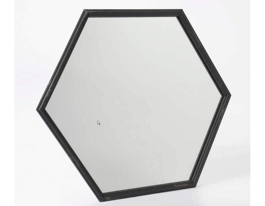 Miroir m tal noir hexagonal pas cher amadeus for Miroir noir metal