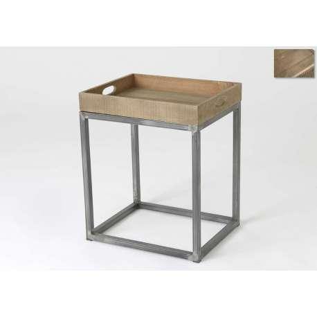 Bout de canap industriel 50 cm bois et m tal - Bout de canape bois et metal ...