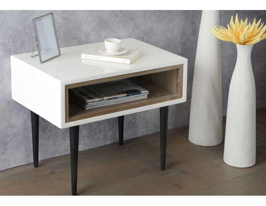 Bout de canapé laqué blanc design