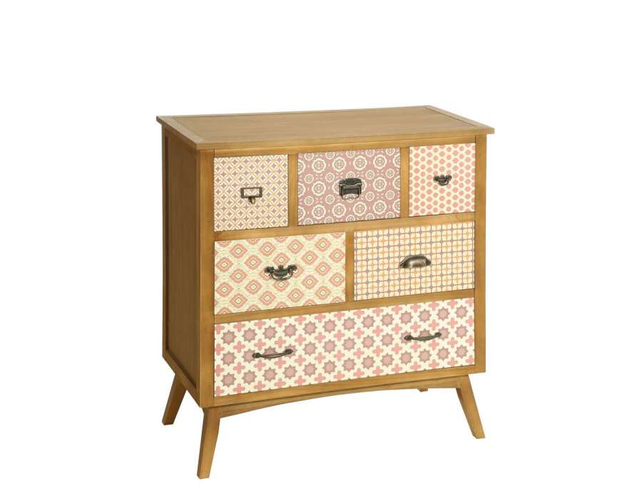 Commode color e 6 tiroirs retro pas chere - Commode baroque pas chere ...