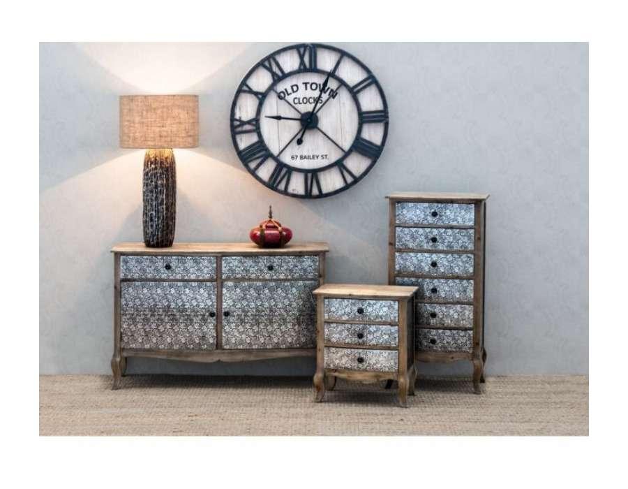 Chevet 3 tiroirs argenté sculpté Vical Home