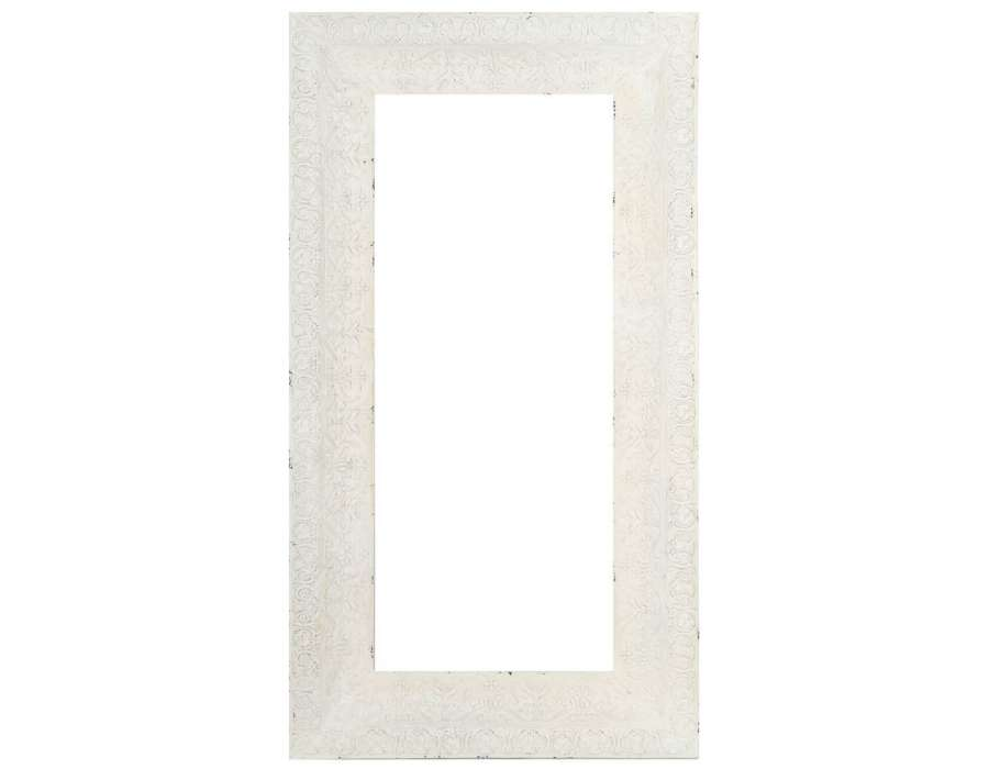 Grand miroir poser ancien blanc180 cm for Grand miroir gris