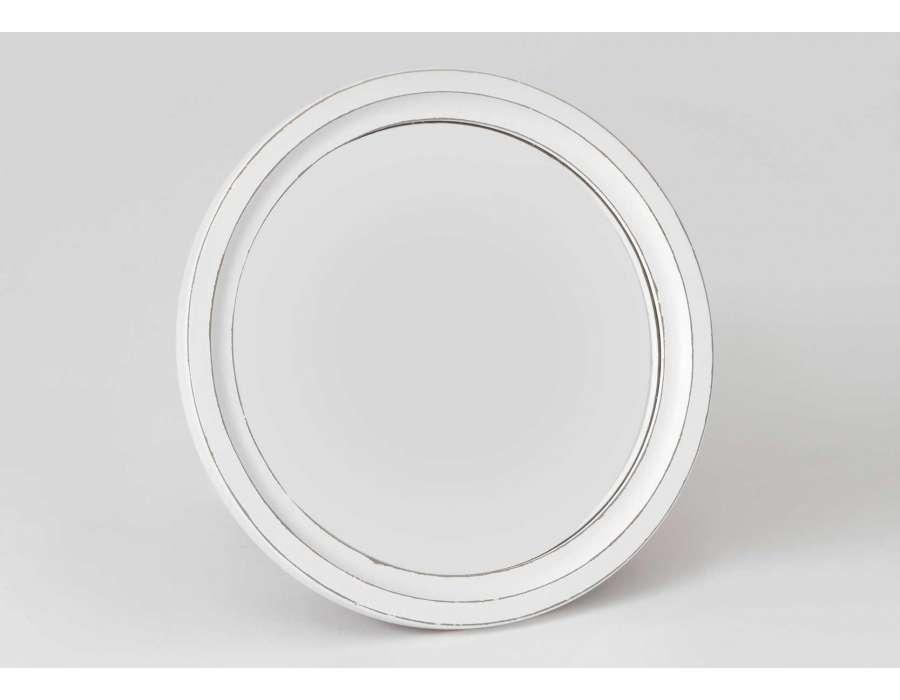 Miroir rond blanc patin de 54cm de diam tre amadeus for Miroir blanc rond