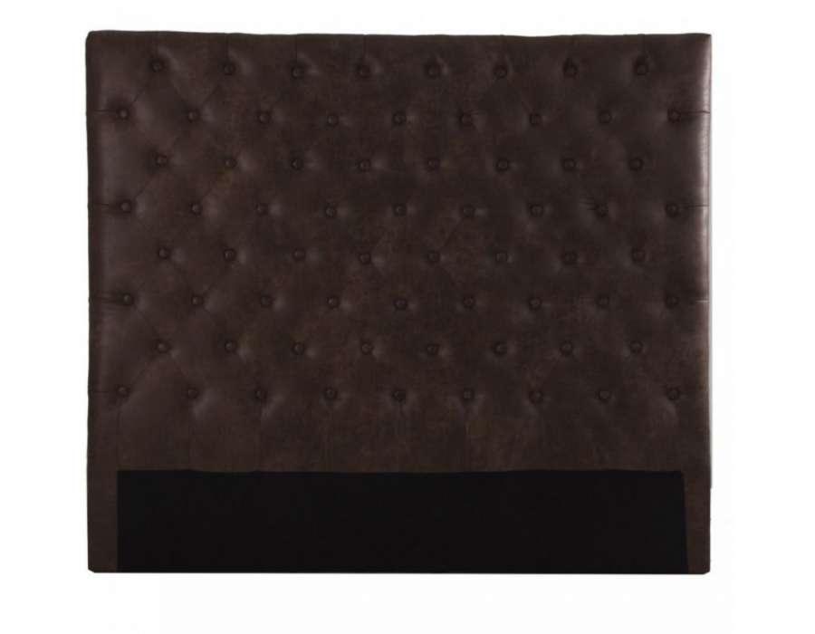 Tête de lit 140 cm simili cuir marron vintage