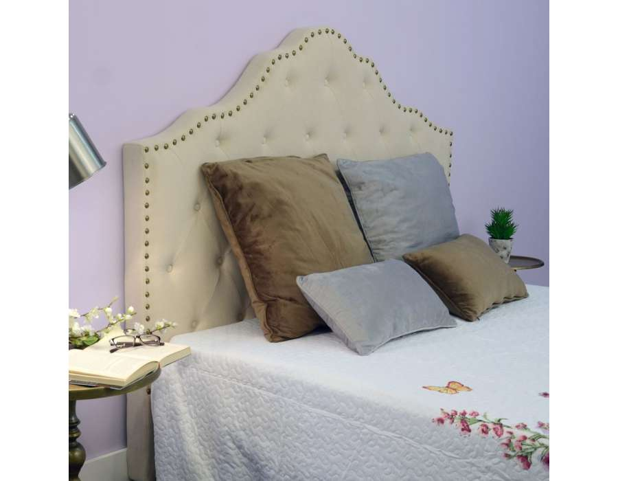 t te de lit en lin clout e capitonn e de 160 cm. Black Bedroom Furniture Sets. Home Design Ideas