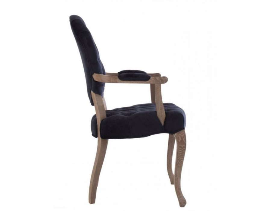 fauteuil capitonn galb en velours bleu vical home. Black Bedroom Furniture Sets. Home Design Ideas