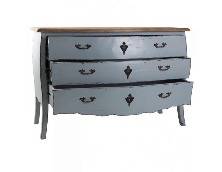 Grande commode baroque bleue grisée Vical home