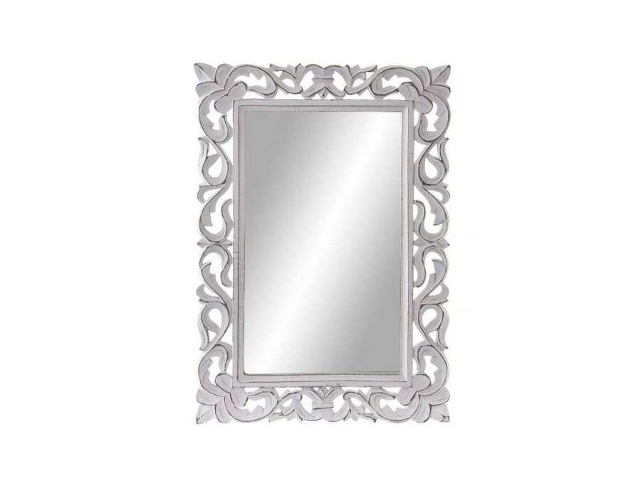 Miroir blanc classique sculpté 57 cm