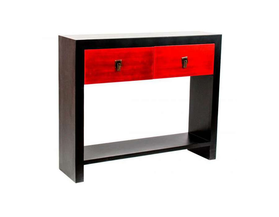 console noire et rouge japonaise contemporaine. Black Bedroom Furniture Sets. Home Design Ideas