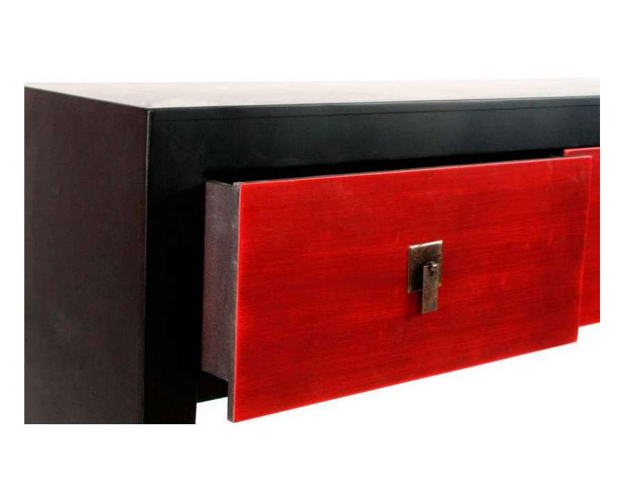 Console noire et rouge japonaise contemporaine for Meuble console japonaise