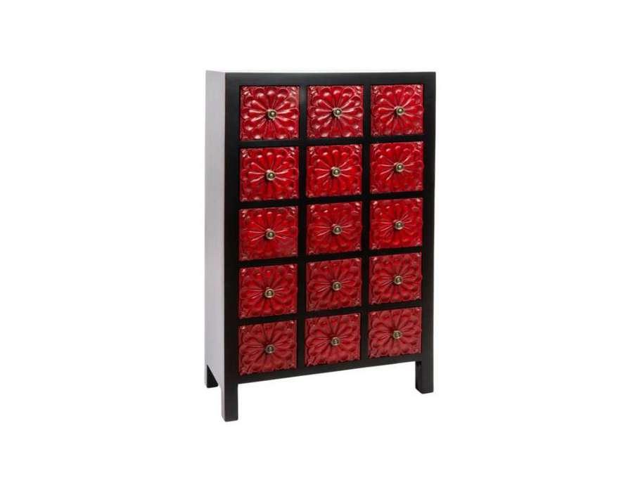 Chiffonnier japonais meuble chinois noir et rouge 15 tiroirs sculp s - Meuble japonais rouge ...