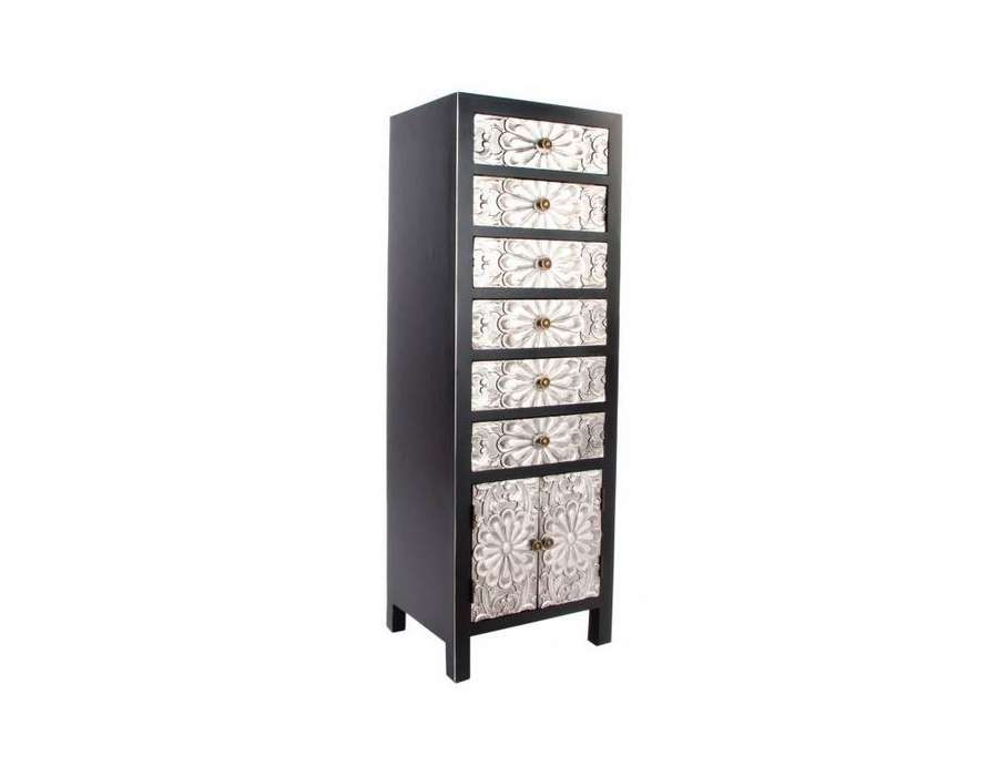 Chiffonnier japonais meuble chinois noir et argent 6 tiroirs sculpt s - Chiffonnier 6 tiroirs ...