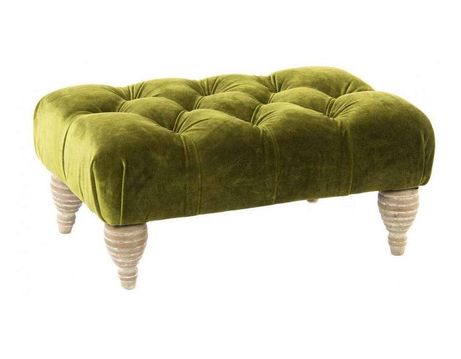 pouf vert anis repose pied en velours capitonn pas cher. Black Bedroom Furniture Sets. Home Design Ideas
