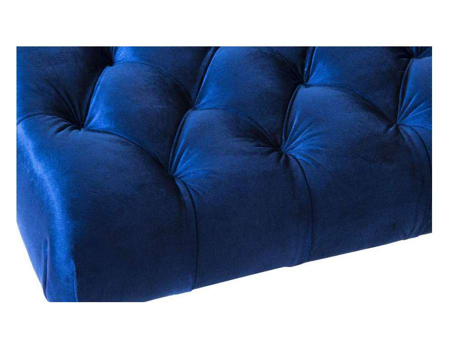pouf bleu repose pied en velours capitonn pas cher. Black Bedroom Furniture Sets. Home Design Ideas
