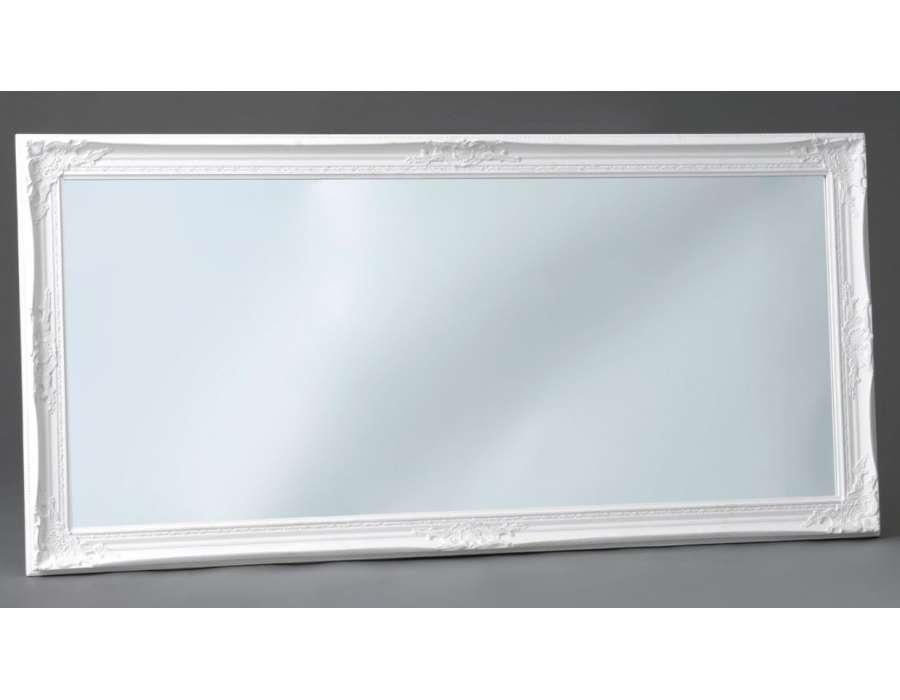 Miroir romantique blanc 154 cm avec moulures 54 cm for Miroir long blanc