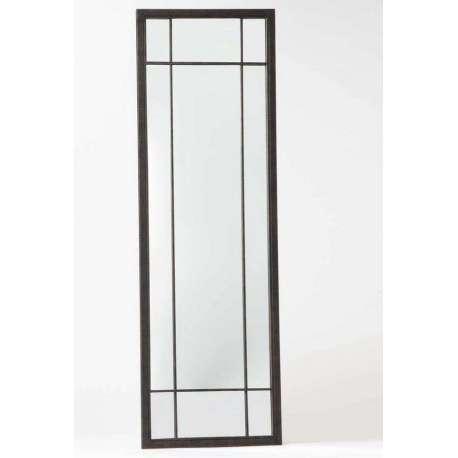 Grand miroir quadrill m tal noir de 185 cm for Miroir quadrille kine
