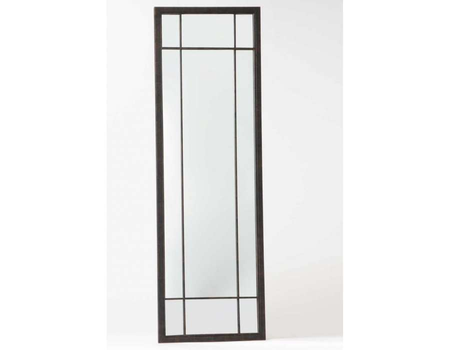 Grand miroir quadrill m tal noir de 185 cm for Miroir long noir