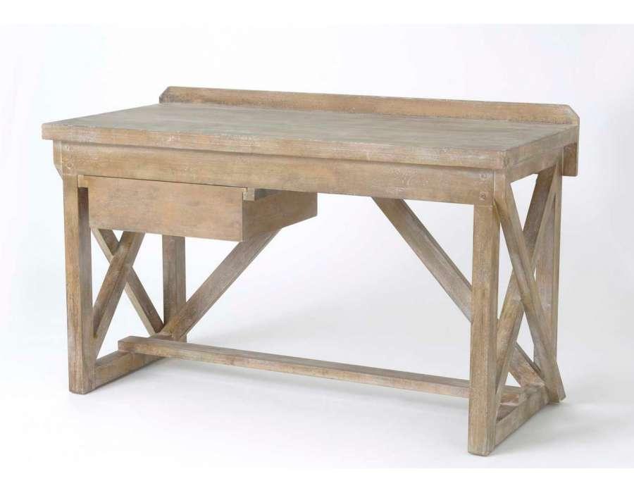 Grand bureau d 39 atelier en bois marque amadeus - Bureau style atelier ...