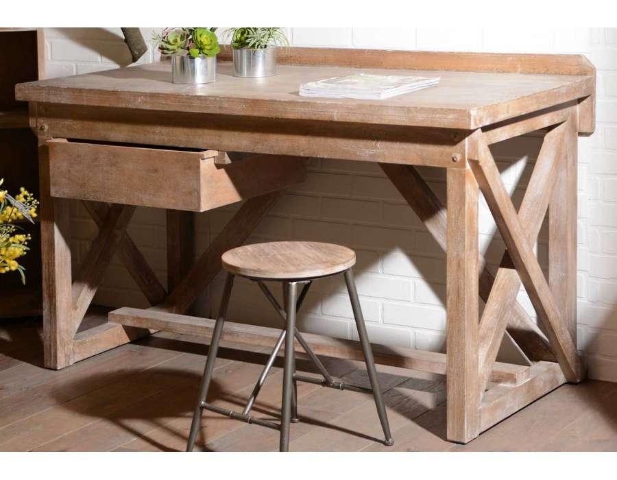 grand bureau d 39 atelier en bois marque amadeus. Black Bedroom Furniture Sets. Home Design Ideas