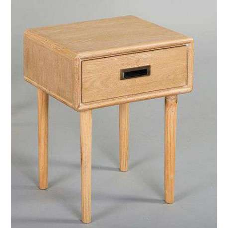 Table de nuit retro en bois de pin clair pas chere - Table de chevet en pin pas cher ...