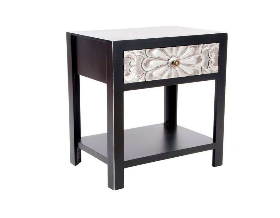 table de nuit noire et argent japonaise pas chere. Black Bedroom Furniture Sets. Home Design Ideas