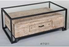 Table de salon contemporaine métal bois