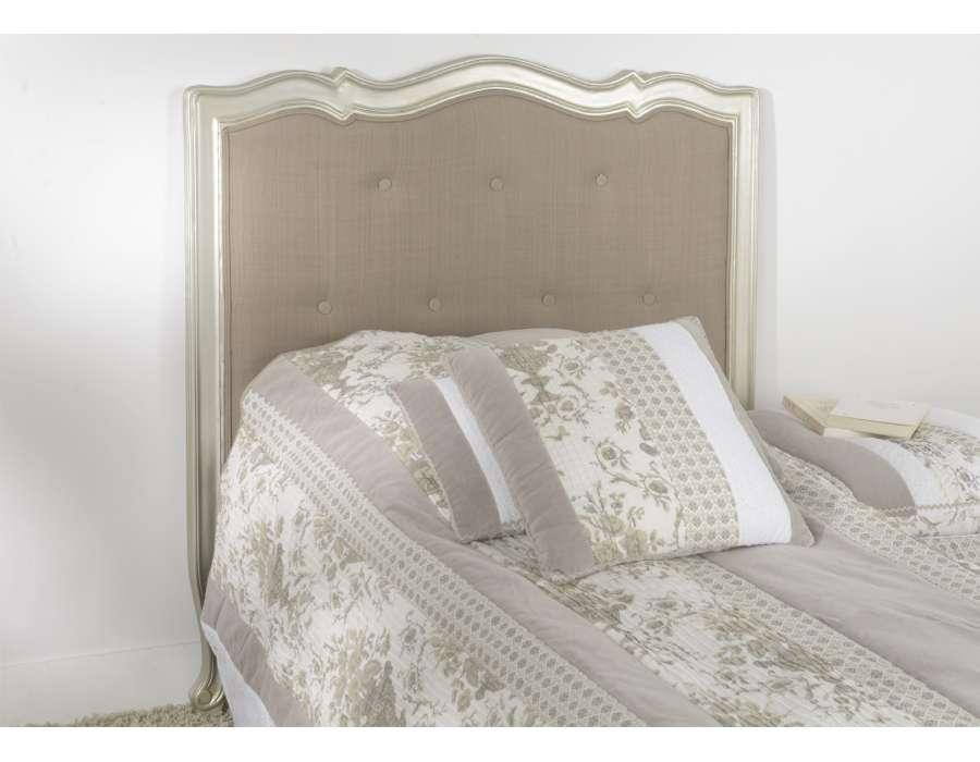 Tête de lit 90 cm argentée et taupe capitonnée