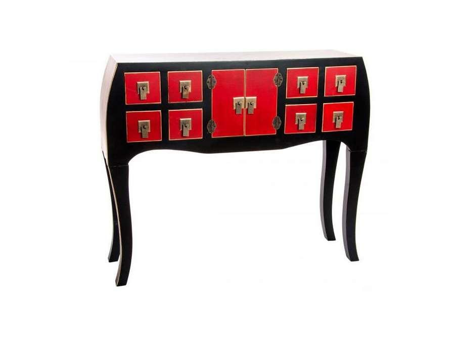 Console baroque japonaise 8 tiroirs 95 cm
