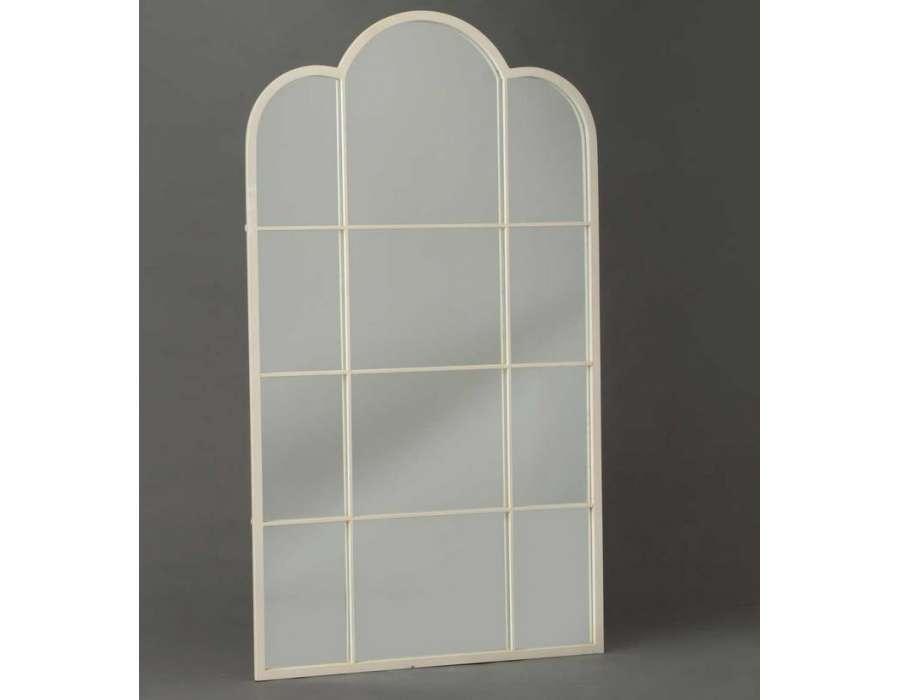 Grand miroir métal blanc cassé rosace