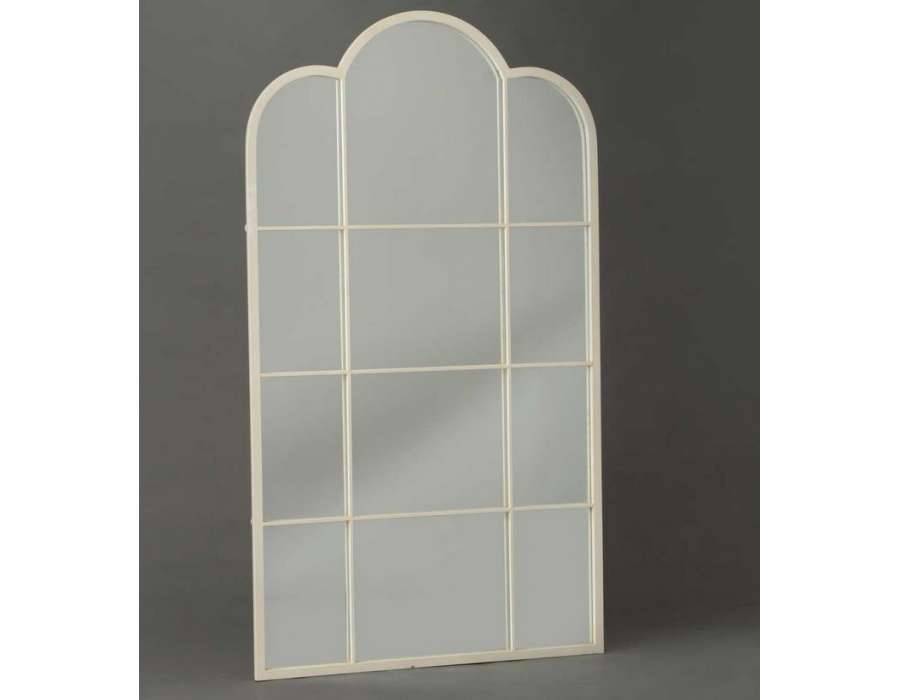 Grand miroir m tal de 170 cm blanc romantique for Grand miroir blanc
