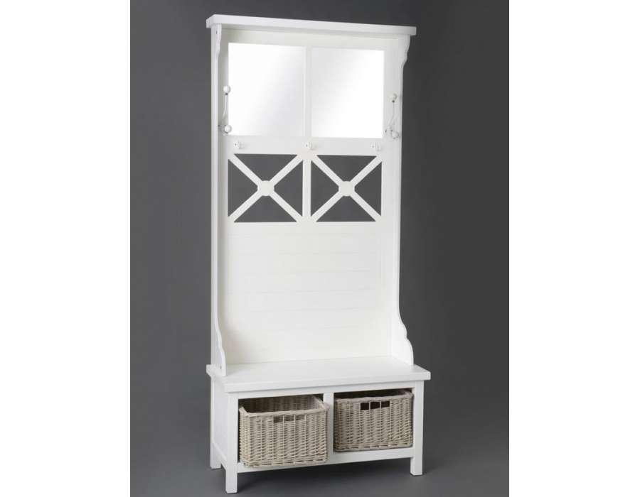 grand meuble entr e blanc avec paniers amadeus. Black Bedroom Furniture Sets. Home Design Ideas