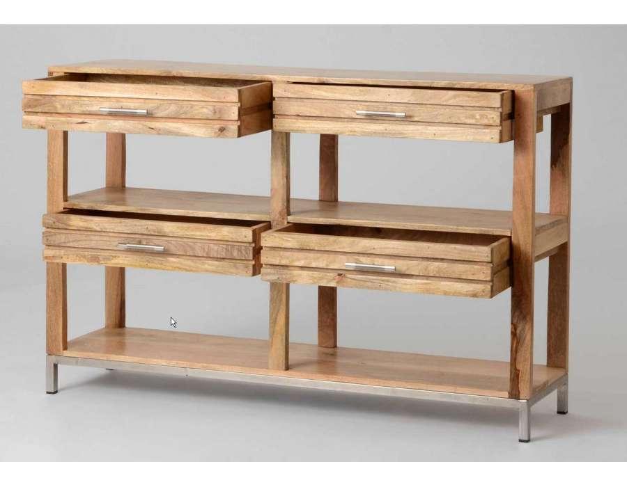console 140 cm en bois teck robuste amadeus. Black Bedroom Furniture Sets. Home Design Ideas