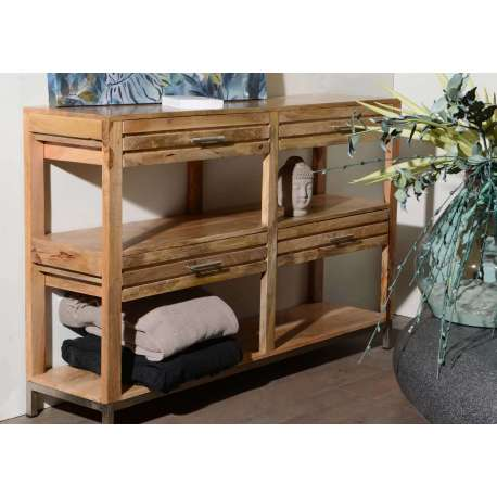 console 140 cm en bois teck robuste amadeus. Black Bedroom Furniture Sets. Home Design Ideas