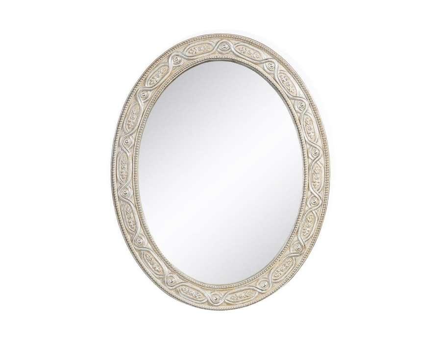 Miroir oval de 50 cm de haut avec pointes argent es pas cher for Miroir 50 cm
