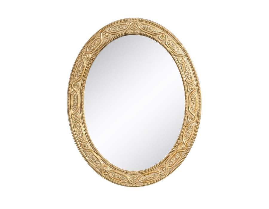 Miroir oval or patiné 50 cm