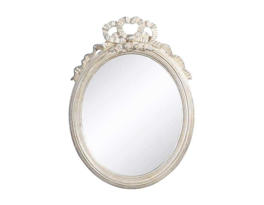 Miroir noeud beige argenté