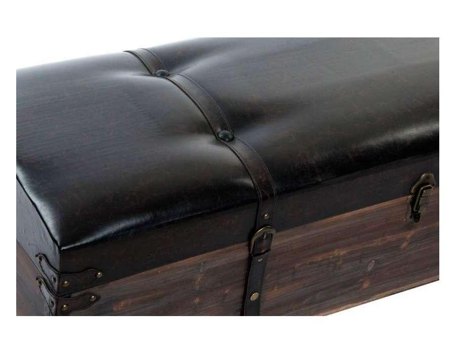Banquette malle noire pas ch re par 3 - Banquette coffre simili cuir ...