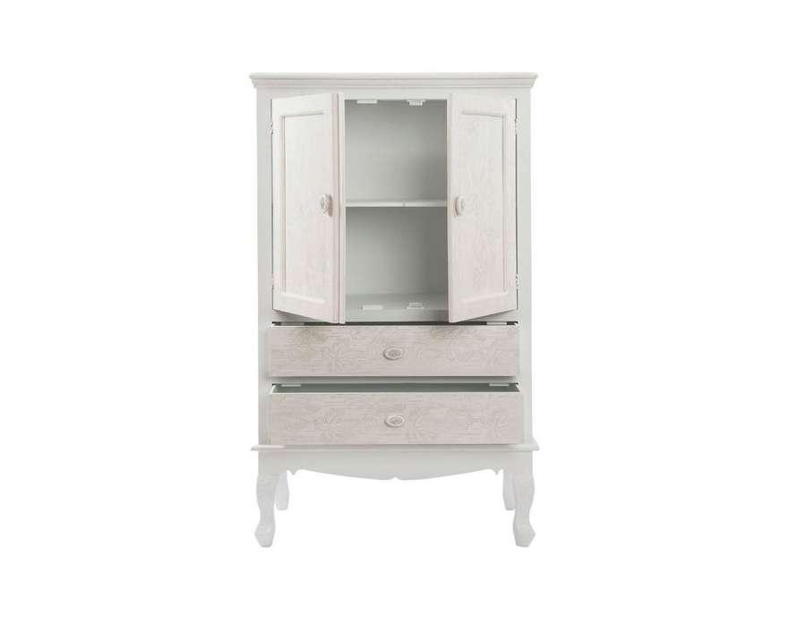 Armoire de salle manger blanc cass patin avec porte for Armoire de salle a manger