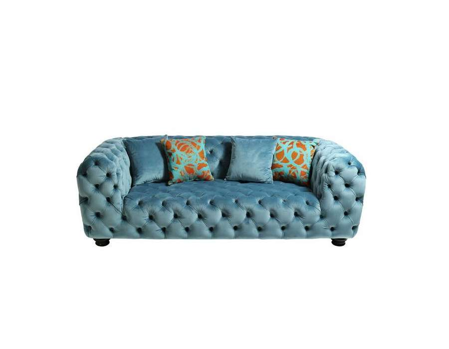 Canap capitonn bleu 215 cm romantique en lin 3 places for Canape romantique