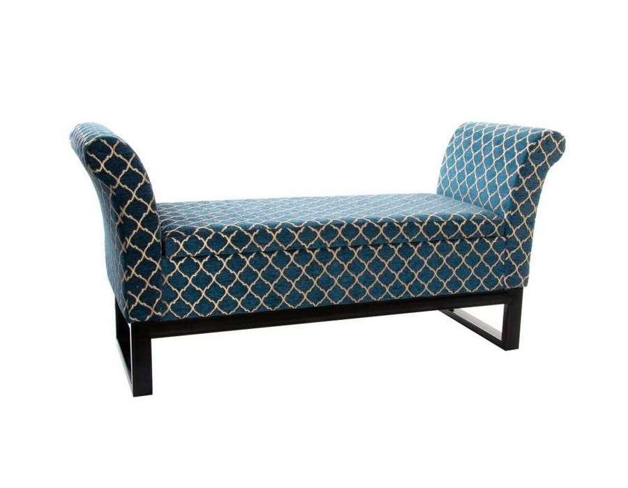banquette coffre bleue velours avec accoudoirs. Black Bedroom Furniture Sets. Home Design Ideas