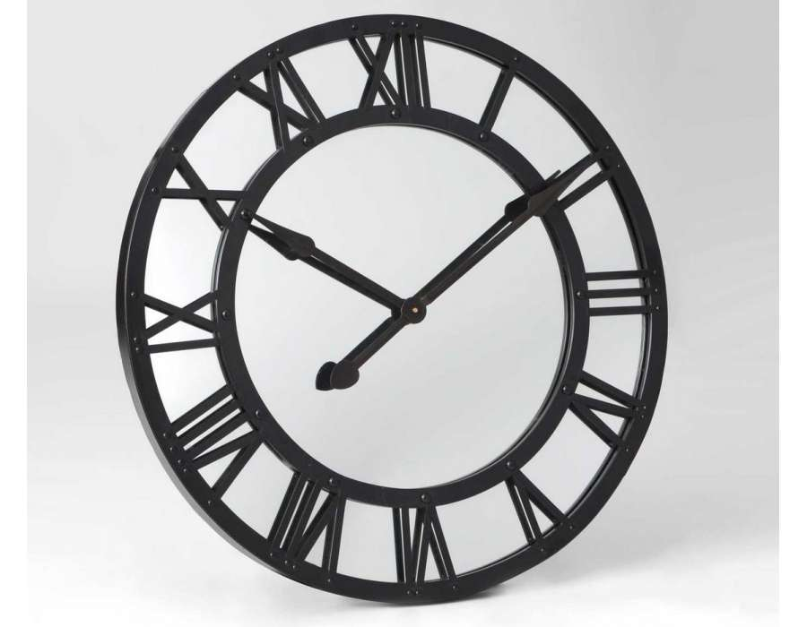horloge ronde 76 cm fond miroir m tal noir. Black Bedroom Furniture Sets. Home Design Ideas