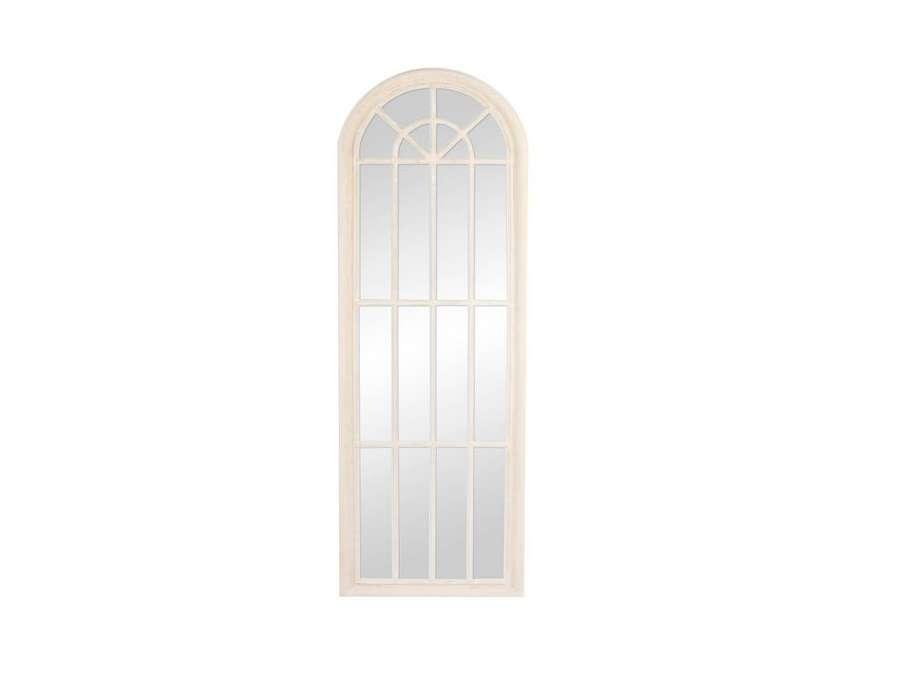 Grand miroir quadrill beige en bois patin pas cher for Grands miroirs pas chers