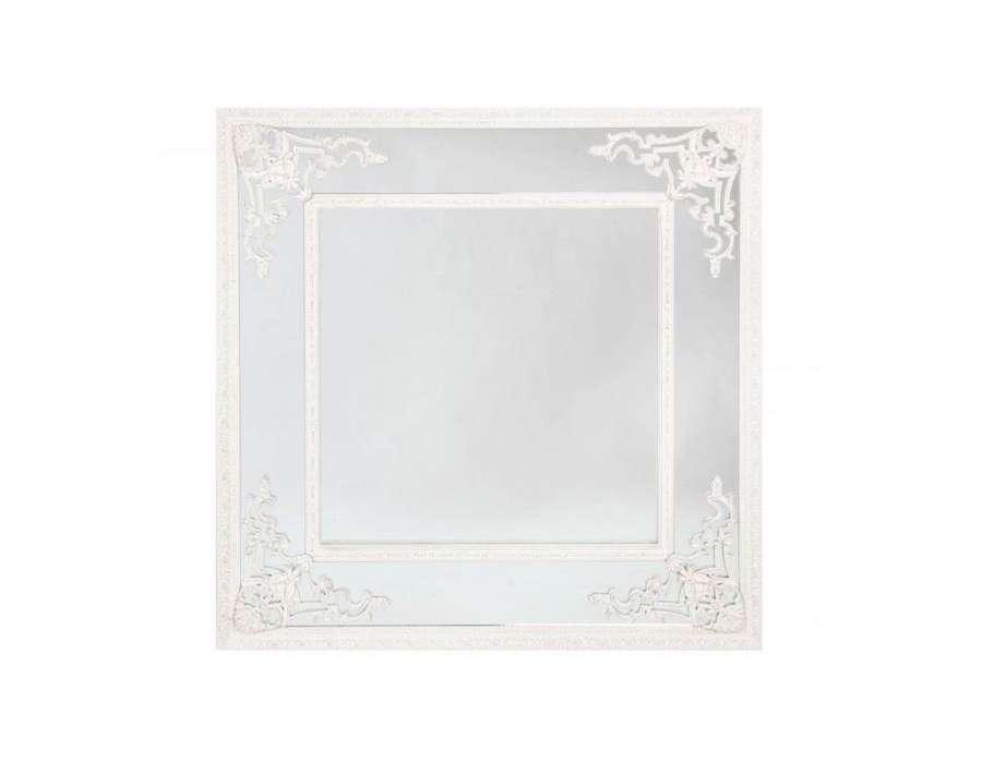 Miroir carr romantique large de 95 cm avec moulures for Miroir carre blanc