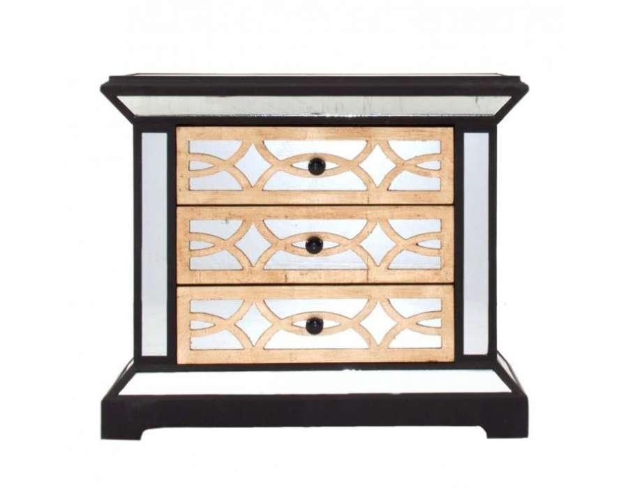 table de nuit miroir chic art d co avec 3 tiroirs vical home. Black Bedroom Furniture Sets. Home Design Ideas