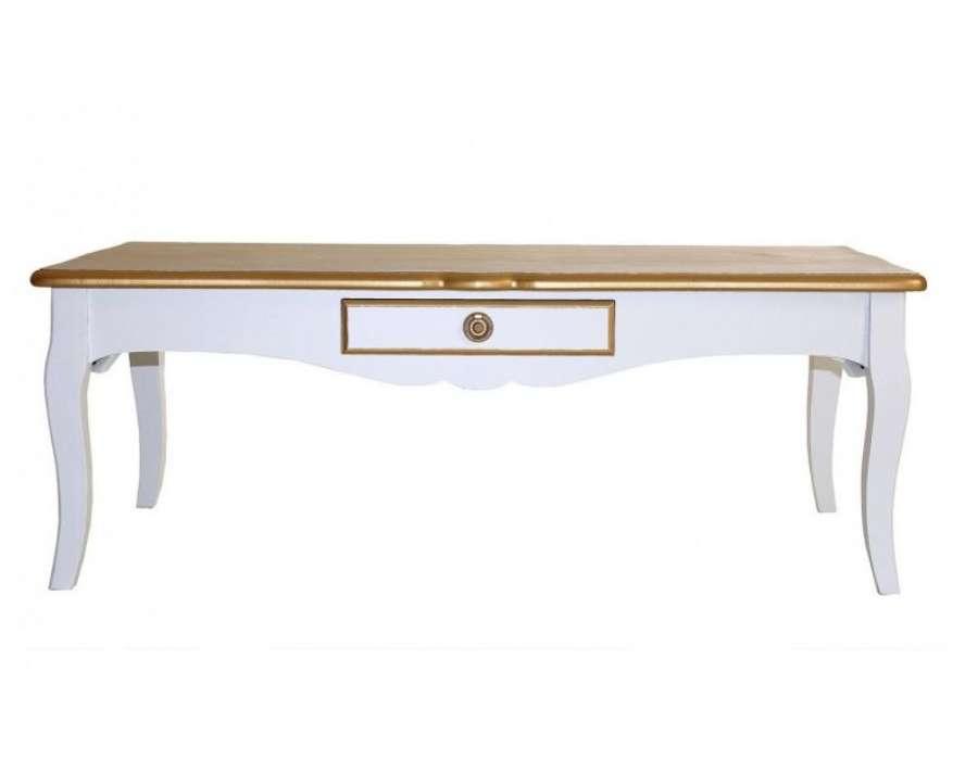Table basse blanche et dorée