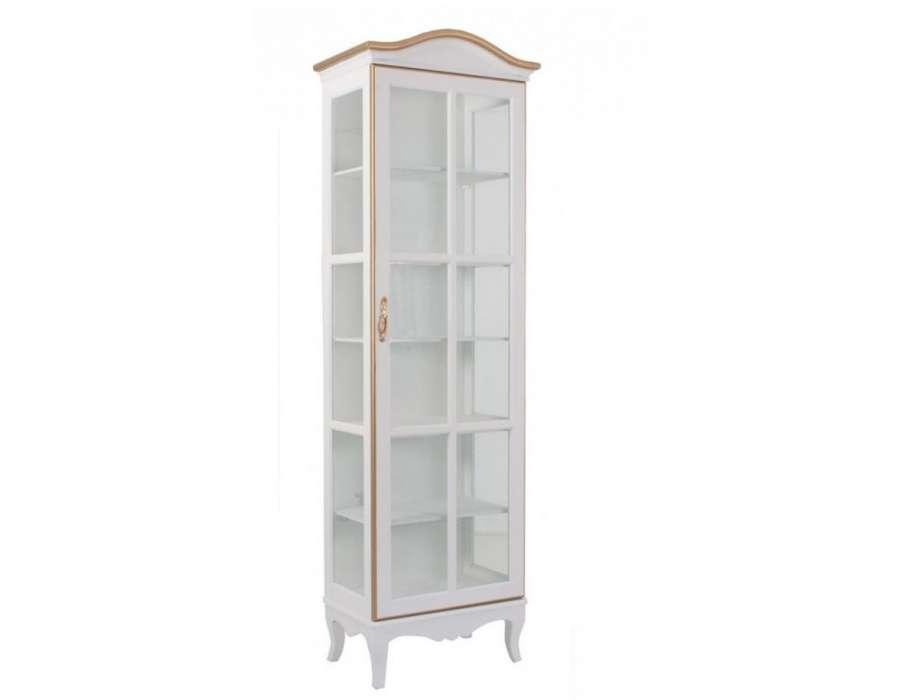 vitrine blanche et dor e avec porte romantique pas chere. Black Bedroom Furniture Sets. Home Design Ideas
