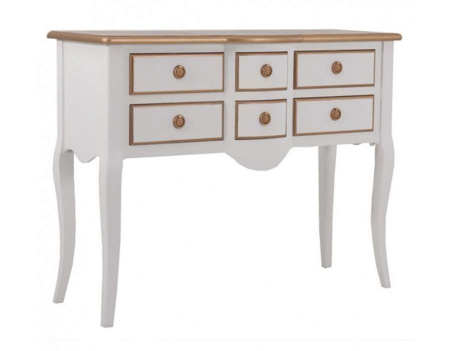 console blanche 6 tiroirs avec plateau dor de la marque vical home. Black Bedroom Furniture Sets. Home Design Ideas